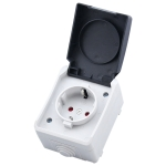 Outdoor IP44 Waterproof Power Socket with Cover, EU Plug