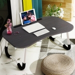 Foldable Non-slip Laptop Desk Table Stand with Card Slot (Black)