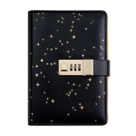 CAGIE A6 Loose-leaf Notebook with Password Lock Student Diary Book Creative Starry Sky Gift