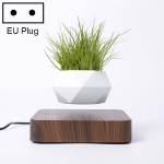Diamond Plastic Flower Pot + Dark Wood Grain Base Magnetic Levitation Potted Plant Home Decoration, EU Plug