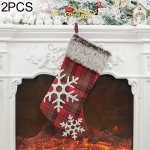 2 PCS Plaid Texture Snowflake Gift Bag Christmas Tree Pendant Christmas decoration
