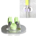Stainless Steel Broom mop Clip Chopsticks Barrel Multi-function Kitchen Punching-free Wall-mounted Holder Storage Rack (Green)