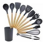 kn020 11 in 1 Wooden Handle Silicone Non-stick Spatula Spoon Kitchen Tool + Bucket Set