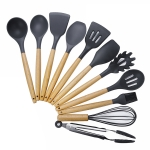 kn020 11 in 1 Wooden Handle Silicone Non-stick Spatula Spoon Kitchen Tool Set