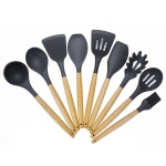 kn020 9 in 1 A Version Wooden Handle Silicone Non-stick Spatula Spoon Kitchen Tool Set