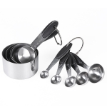 kn650 10 in 1 Black Stainless Steel Measuring Spoon Cake Mold Baking Tool Set