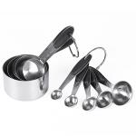 kn650 10 in 1 Black Stainless Steel Measuring Spoon Cake Mold Baking Tool Set