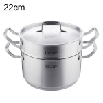 LXBF LX-2ZG22-01 Stainless Steel 2-layer Steamer Cooking Pot, Specification: 22cm