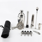 12 in 1 Stainless Steel Wine Cocktail Shaker Tools Set with Cloth Bag, Capacity: 550ml