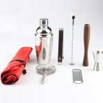 8 in 1 Stainless Steel Wine Cocktail Shaker Tools Set with Cloth Bag, Capacity: 350ml