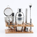 11 in 1 Stainless Steel Cocktail Shaker Tools Set with Wooden Mount, Capacity: 750ml
