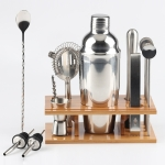14 in 1 Stainless Steel Cocktail Shaker Tools Set with Bamboo Mount, Capacity: 750ml