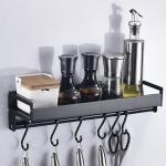 30cm 4 Hooks Kitchen Multi-function Wall Hanging Holder Seasoning Storage Rack(Black)