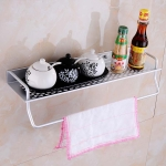 40cm Single Layer with Rod Multi-function Kitchen Bathroom Wall-mounted Aluminum Alloy Holder Storage Rack