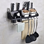 A Version 50cm 2 Cup 8 Hooks Kitchen Multi-function Wall-mounted Condiment Holder Storage Rack(Black)