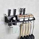 A Version 60cm 2 Cup 10 Hooks Kitchen Multi-function Wall-mounted Condiment Holder Storage Rack (Black)
