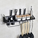 A Version 70cm 2 Cups  10 Hooks Kitchen Multi-function Wall-mounted Condiment Holder Storage Rack (Black)