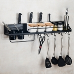 A Version 80cm 2 Cups 10 Hooks Kitchen Multi-function Wall-mounted Condiment Holder Storage Rack (Black)