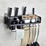 B Version 50cm 2 Cups 10 Hooks Kitchen Multi-function Wall-mounted Condiment Holder Storage Rack (Black)