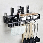B Version 60cm 2 Cups 8 Hooks Kitchen Multi-function Wall-mounted Condiment Holder Storage Rack (Black)