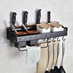 C Version 50cm 2 Cups 10 Hooks Kitchen Multi-function Wall-mounted Condiment Holder Storage Rack (Black)