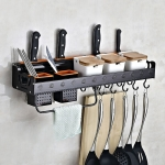 C Version 60cm 2 Cups 10 Hooks Kitchen Multi-function Wall-mounted Condiment Holder Storage Rack (Black)
