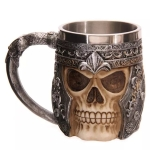 Armor Skull Shape Resin Double Layer Stainless Steel Mug Water Cup
