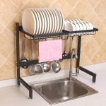 62cm Stainless Steel Kitchen Bowl Dish Drain Rack Storage Holder, Standrad Version (Black)