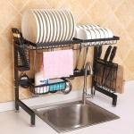 62cm Stainless Steel Kitchen Bowl Dish Knife Chopping Block Chopsticks Drain Rack Storage Holder, Deluxe Version (Black)