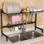 82cm Stainless Steel Kitchen Bowl Dish Fruit Basket Drain Rack Storage Holder, Standrad Version (Black)