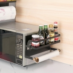 Kitchen Single Layer Magnetic Refrigerator Rack Storage Holder (Black)