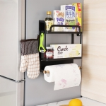 Kitchen Double Layers Magnetic Refrigerator Rack Storage Holder (Black)