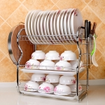 Multi-function Kitchen Stainless Steel Three Layers B Shape Rack Hanging Bowl Dish Holder