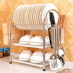 Multi-function Kitchen Stainless Steel Three Layers Arch Shape Rack Hanging Bowl Dish Holder