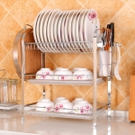 Multi-function Kitchen Stainless Steel Three Layers Flower Shape Steel Sheet Rack Hanging Bowl Dish Holder