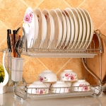 Multi-function Kitchen Stainless Steel Double Diskes Rack Hanging Knife Chopping Block Holder