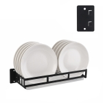 Stainless Steel Wall-mounted Kitchen Rack Hanging Dish Holder (Black)