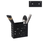 Stainless Steel Wall-mounted Kitchen Rack Double Cage Chopsticks Canister Holder (Black)