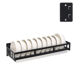 Stainless Steel Wall-mounted Kitchen Rack Hanging Bowl Holder (Black)