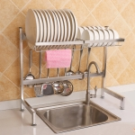 62cm Stainless Steel Kitchen Bowl Dish Drain Rack Storage Holder, Standrad Version