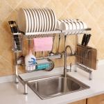 62cm Stainless Steel Kitchen Bowl Dish Knife Chopping Block Chopsticks Drain Rack Storage Holder, Deluxe Version