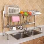 82cm Stainless Steel Kitchen Bowl Dish Fruit Basket Drain Rack Storage Holder, Standrad Version