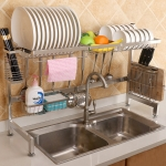 82cm Stainless Steel Kitchen Bowl Fruit Basket Knife Chopping Block Chopsticks Dish Drain Rack Storage Holder, Deluxe Version