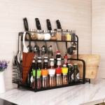 40cm Multi-function Kitchen Double Layers Seasoning Storage Rack (Black)