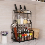 40cm Multi-function Kitchen Three Layers Seasoning Storage Rack (Black)