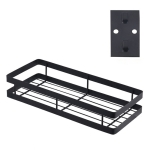 30cm Kitchen Punch-free Wall Mount Seasoning Storage Rack (Black)