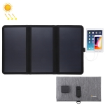 HAWEEL 21W Ultrathin 3-Fold Foldable 5V / 3A Max  Solar Panel Charger with Dual USB Ports, Support QC3.0 and AFC (Black)