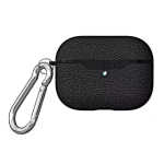 For Apple AirPods Pro TPU Litchi Texture Wireless Earphone Protective Case with Hook (Black)