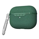 For Apple AirPods Pro TPU Litchi Texture Wireless Earphone Protective Case with Hook (Dark Green)