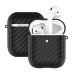 For Apple Airpods Wave Texture TPU Wireless Earphone Protective Case without Earphone(Black)